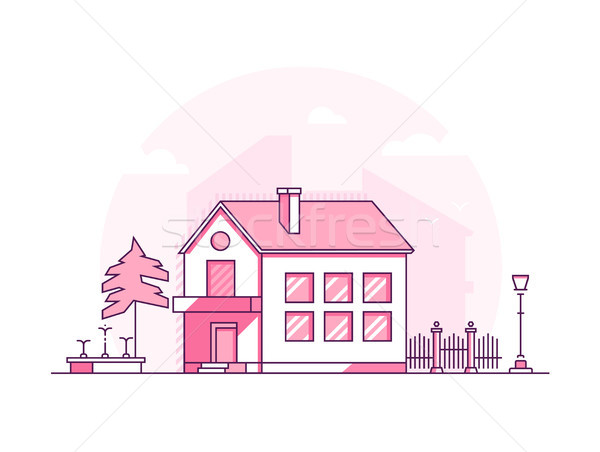 Two storey building - modern thin line design style vector illustration Stock photo © Decorwithme