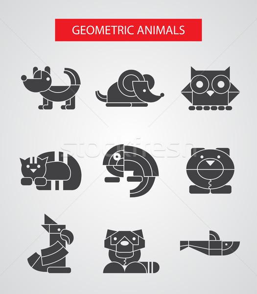 Stockfoto: Ingesteld · ontwerp · meetkundig · dieren · vector