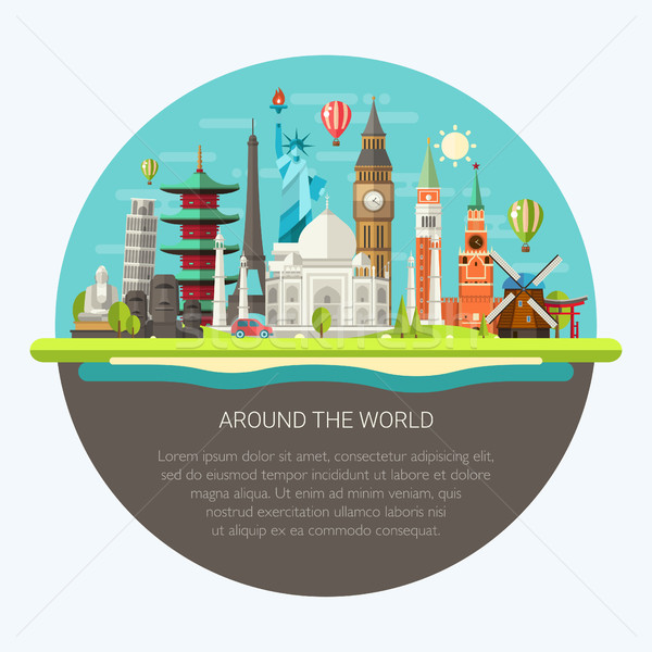 Illustration  of flat design postcard with famous world landmark Stock photo © Decorwithme