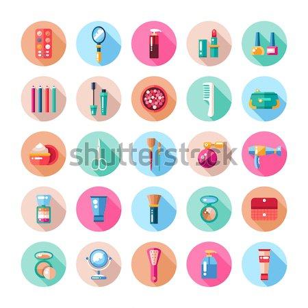 Szett terv kozmetika smink ikonok elemek Stock fotó © Decorwithme