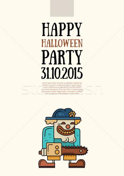 Illustration halloween ligne design modernes affiche Photo stock © Decorwithme