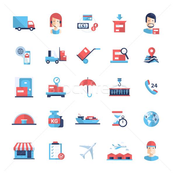 Entrega servicio moderna diseno iconos pictogramas Foto stock © Decorwithme