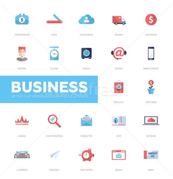Business infographics flat design icons, web elements set Stock photo © Decorwithme