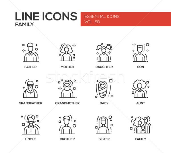 Familie lijn ontwerp moderne vector Stockfoto © Decorwithme