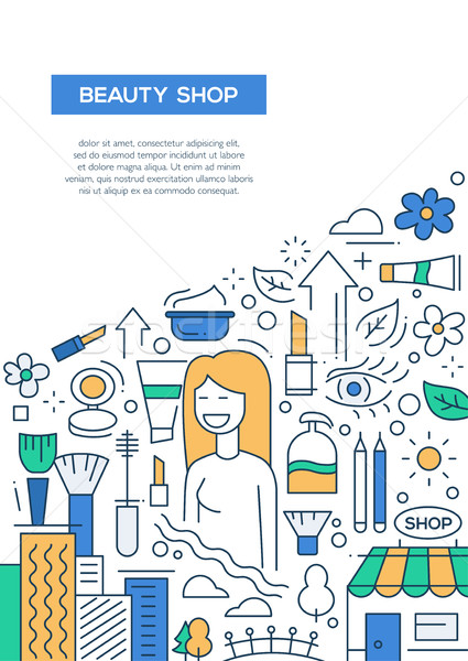 Beauty Shop - line design brochure poster template A4 Stock photo © Decorwithme