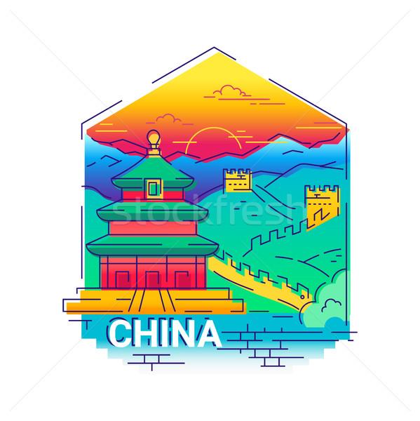 Kína modern vektor vonal utazás illusztráció Stock fotó © Decorwithme