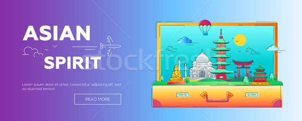 Asian Spirit - vector line travel web page header illustration Stock photo © Decorwithme