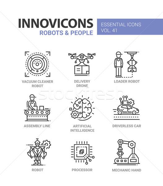 Robots mensen moderne vector lijn ontwerp Stockfoto © Decorwithme