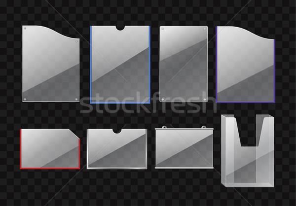 Ayarlamak klasörler modern vektör gerçekçi yalıtılmış Stok fotoğraf © Decorwithme