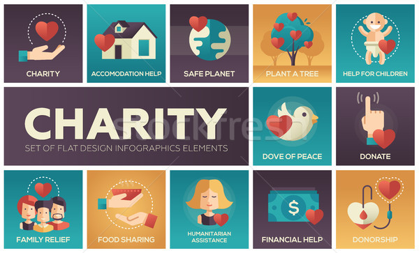 Charity - set of flat design infographics elements Stock photo © Decorwithme
