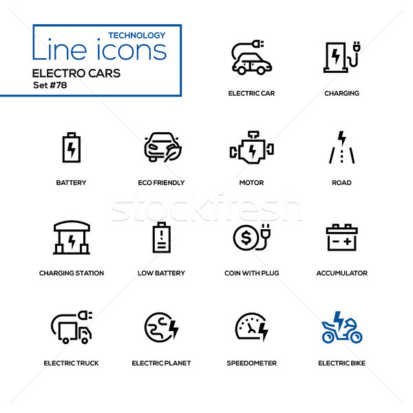 Electro cars - line design icons set Stock photo © Decorwithme
