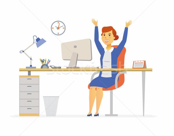 Glücklich Büroangestellte modernen Zeichen Illustration Stock foto © Decorwithme