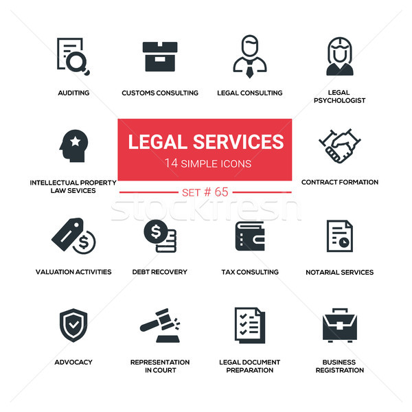 Legal services - line design silhouette icons set Stock photo © Decorwithme