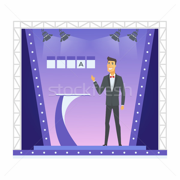 Wheel of fortune presenter - cartoon people character isolated illustration Stock photo © Decorwithme
