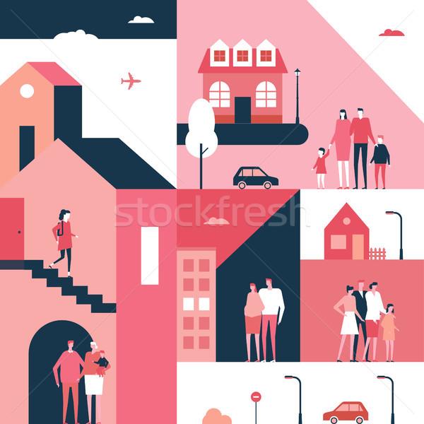 ストックフォト: 家族 · デザイン · スタイル · 実例 · 漫画