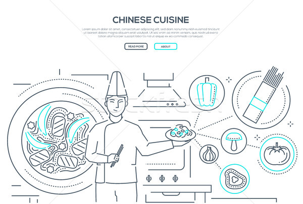 Chinese cuisine - line design style banner Stock photo © Decorwithme