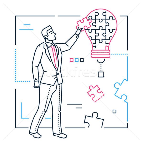 Businessman doing puzzle - line design style isolated illustration Stock photo © Decorwithme