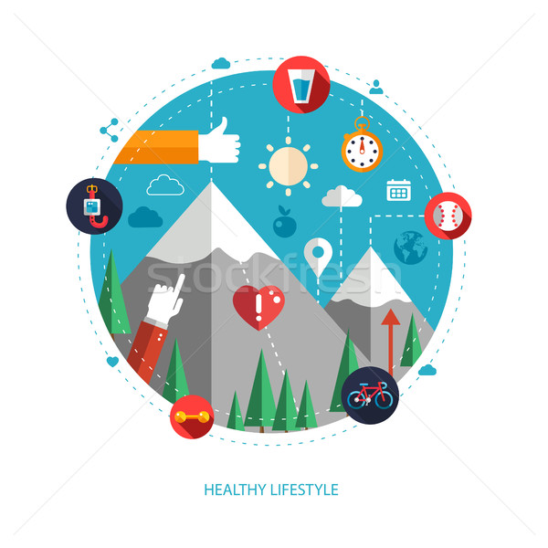 Set of flat design sport, fitness and healthy lifestyle composit Stock photo © Decorwithme