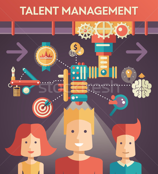 Conceptual flat design illustration of business talent managemen Stock photo © Decorwithme