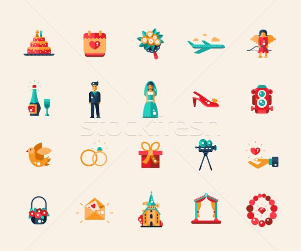 Foto stock: Establecer · diseno · boda · matrimonio · iconos · elementos