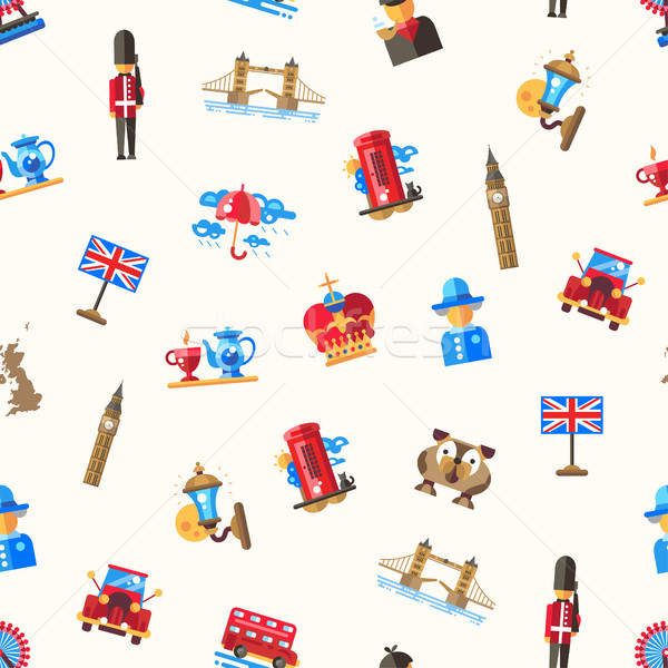 Travel to Great Britain pattern with famous British symbols Stock photo © Decorwithme