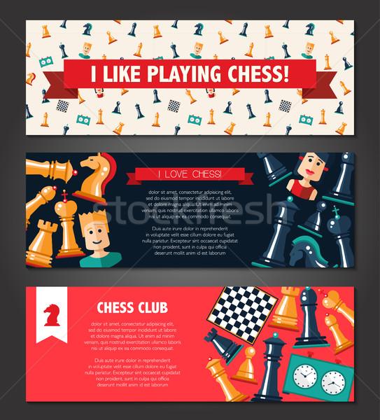 Banners ingesteld ontwerp schaken spelers iconen Stockfoto © Decorwithme