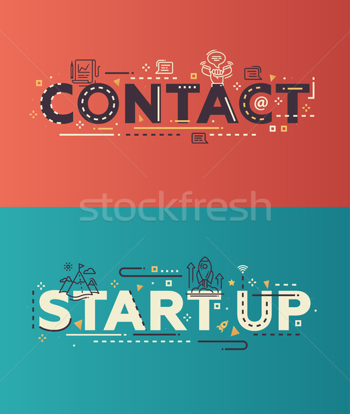 Modern flat design Contact, Start Up lettering with business icons Stock photo © Decorwithme