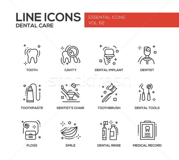 Stok fotoğraf: Diş · bakımı · hat · dizayn · ayarlamak · modern