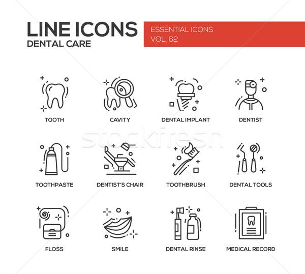 Dental Care - line design icons set Stock photo © Decorwithme