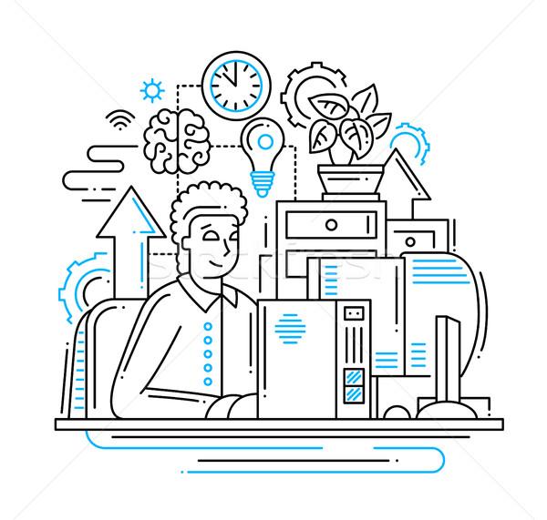 ストックフォト: 作業 · を · 行 · デザイン · 実例 · ベクトル