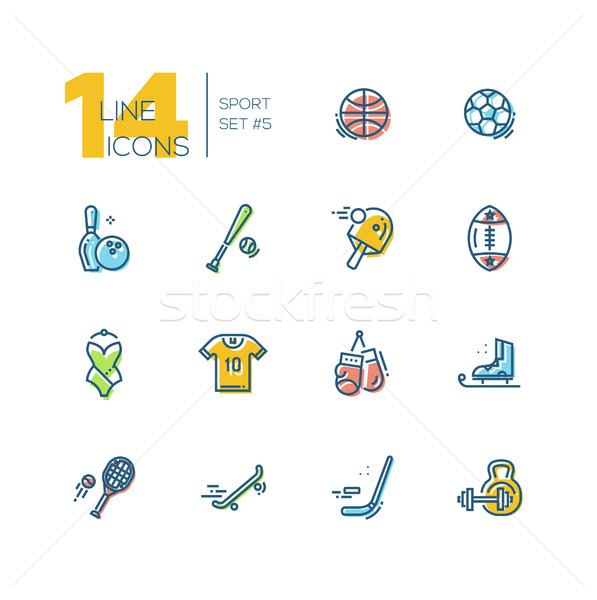 Kinds of Sport - thick line icons set Stock photo © Decorwithme
