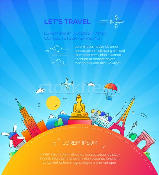 Let's Travel - flat design travel composition Stock photo © Decorwithme