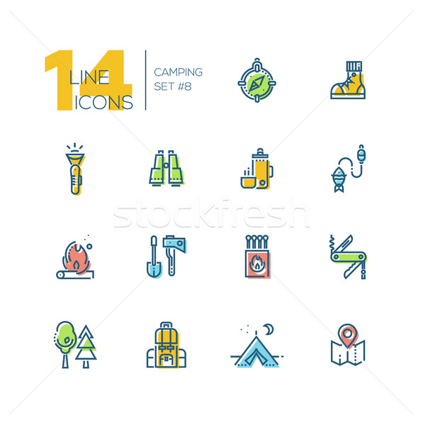 Camping and Hiking - thick line icons set Stock photo © Decorwithme