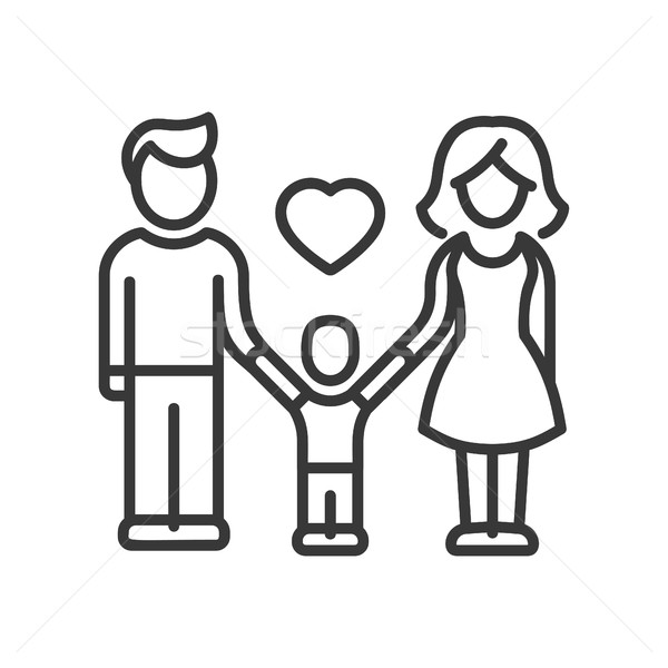 One Child Family - vector modern line design illustrative icon Stock photo © Decorwithme