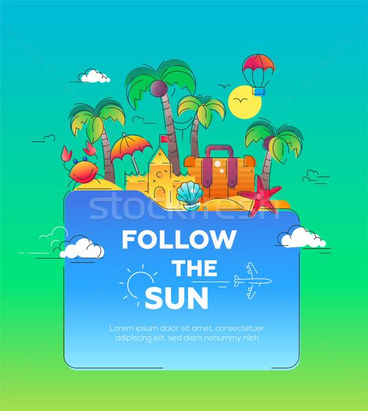 Illustration of flat design postcard with seaside landscape Stock photo © Decorwithme