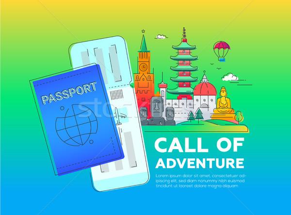 Chamar aventura vetor linha viajar ilustração Foto stock © Decorwithme
