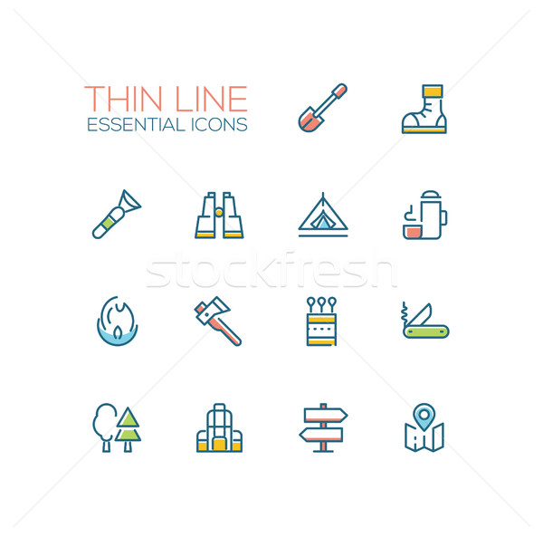 Camping and Hiking - line icons set Stock photo © Decorwithme