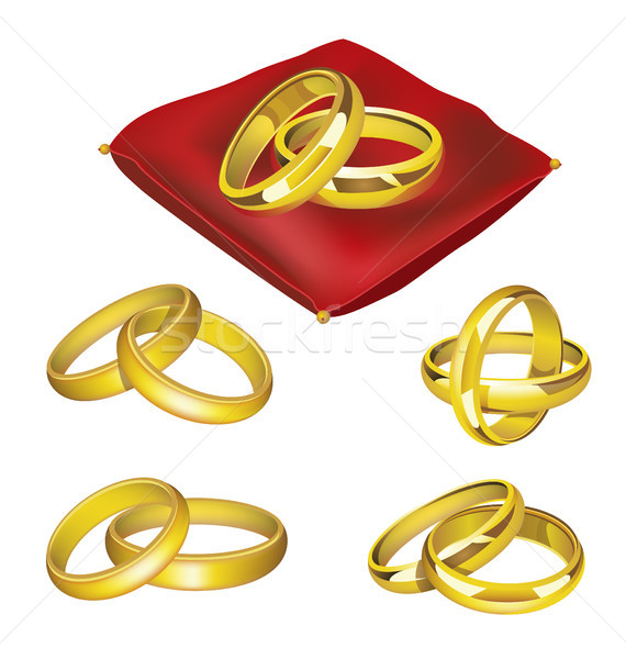 Wedding Rings - realistic vector set of objects Stock photo © Decorwithme