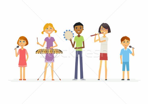 Happy schoolchildren playing music - cartoon people characters isolated illustration Stock photo © Decorwithme