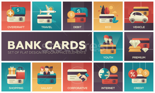 Bank cards - set of flat design infographics elements Stock photo © Decorwithme