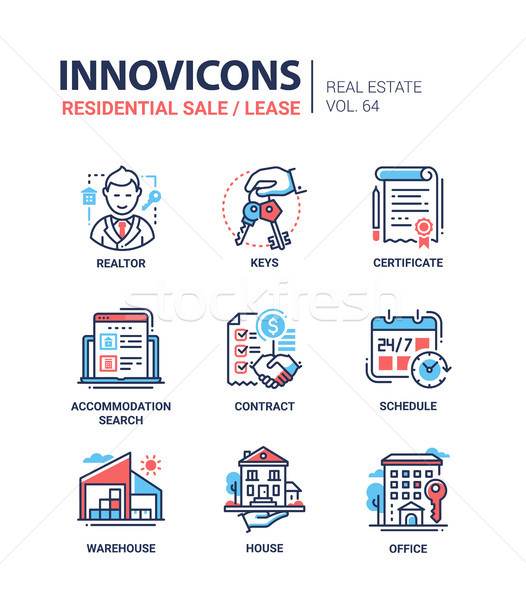 Residential sale and lease - line design icons set Stock photo © Decorwithme
