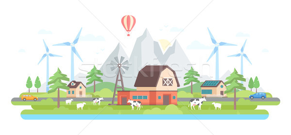 Farm by the mountains - modern flat design style vector illustration Stock photo © Decorwithme
