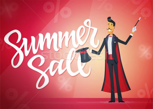 Nyár vásár rajzolt emberek betűk illusztráció kalligráfia Stock fotó © Decorwithme