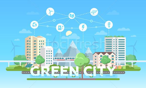 Green city - modern flat design style vector illustration Stock photo © Decorwithme