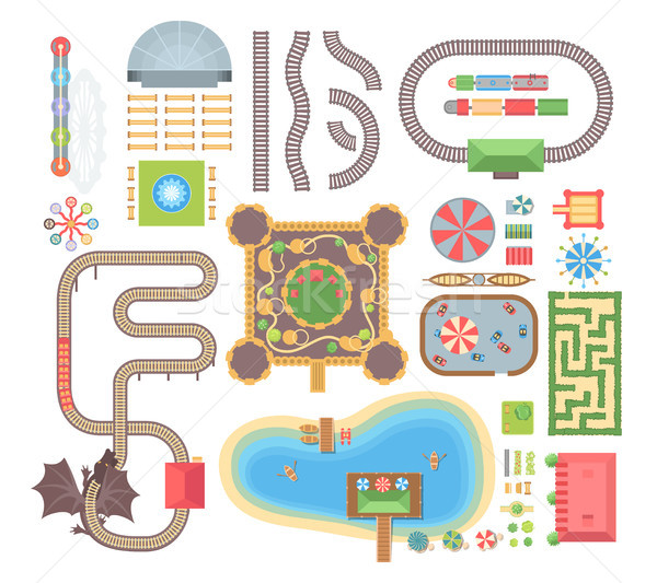 Amusement park - set of modern vector isolated objects Stock photo © Decorwithme