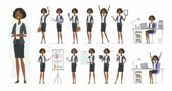Afrikai üzletasszony vektor rajzolt emberek karakter szett Stock fotó © Decorwithme