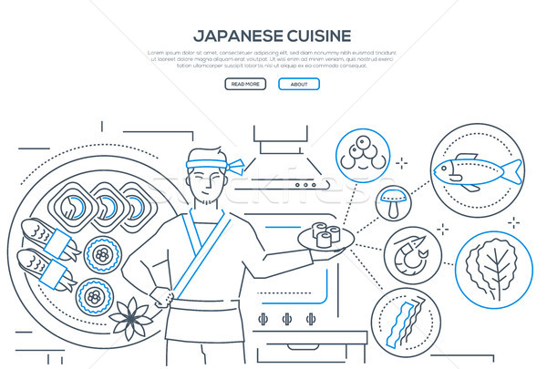 Japanese cuisine - line design style banner Stock photo © Decorwithme