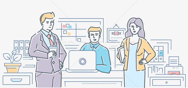 Business colleagues - colorful line design style illustration Stock photo © Decorwithme