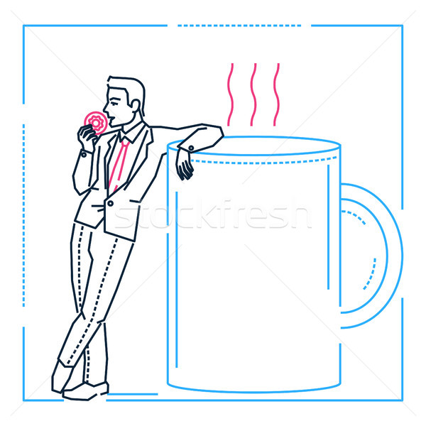 Businessman on a coffee break - line design style illustration Stock photo © Decorwithme