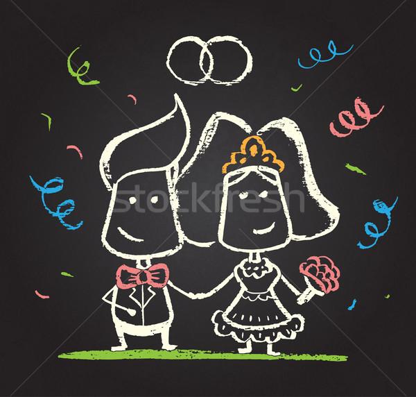Foto stock: Ilustração · feliz · comprometido · casal · lousa · textura